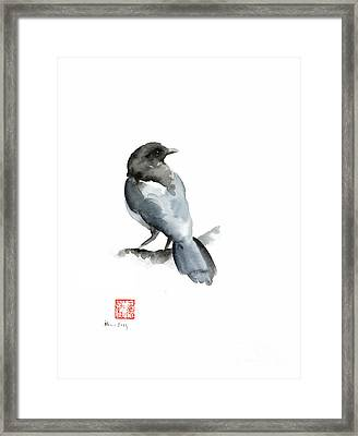 Blue Bird Grey Black Crow Silver Winter Scenery Landscape Watercolor Painting Framed Print