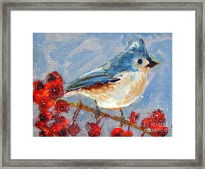 Blue Bird In Winter - Tuft Titmouse Modern Impressionist Art Framed Print by Patricia Awapara