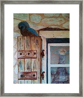 Framed Print featuring the painting Blue Bird by Jasna Gopic