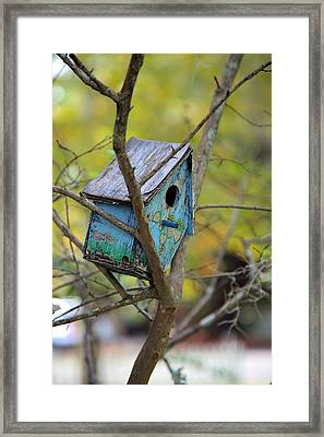 Framed Print featuring the photograph Blue Birdhouse by Gordon Elwell