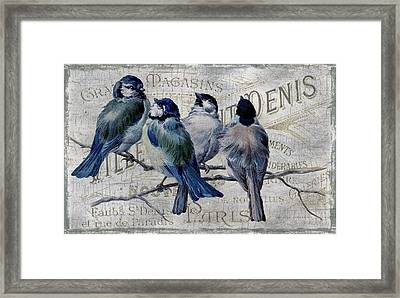 Blue Birdies Framed Print by Chanin Green