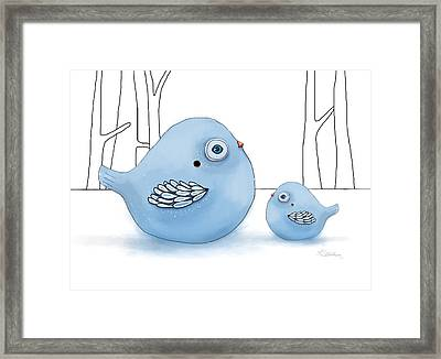 Blue Birds Of Happiness Framed Print by Karin Taylor