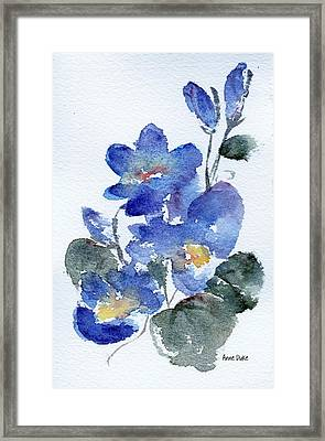 Framed Print featuring the painting Blue Blooms by Anne Duke