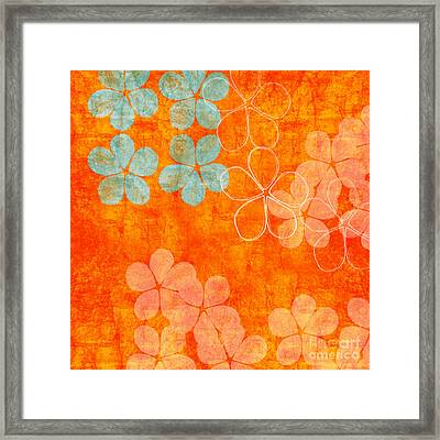 Blue Blossom On Orange Framed Print by Linda Woods