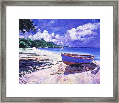 Blue Boat And Fishnets Framed Print by David Lloyd Glover
