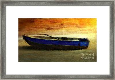 Blue Boat At Sunset Framed Print by Sandra Bauser Digital Art