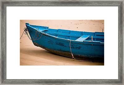 Blue Boat Framed Print by Frank Tschakert