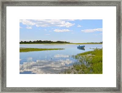 Blue Boat In The Backwaters Framed Print