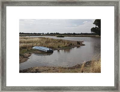 Framed Print featuring the photograph Blue Boat On Dam. by Carole Hinding