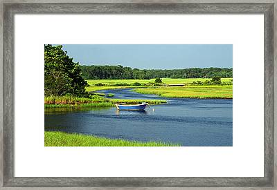 Blue Boat On The Herring River Framed Print