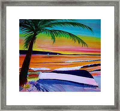 Blue Boat Waiting Framed Print