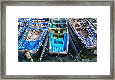 Blue Boats Framed Print by Stelios Kleanthous