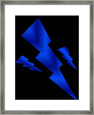 Framed Print featuring the digital art Blue Bolts by Gayle Price Thomas