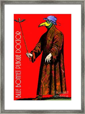 Blue Bonnet Plague Doctor 20140306 With Text Framed Print by Wingsdomain Art and Photography