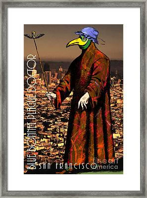 Blue Bonnet Plague Doctor Of San Francisco 20140306 With Text Framed Print