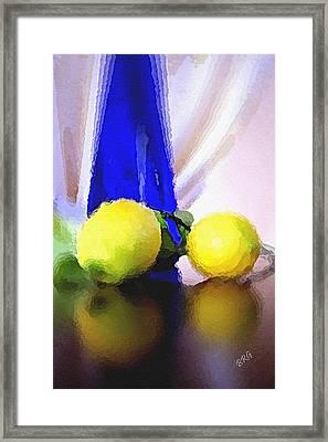 Blue Bottle And Lemons Framed Print by Ben and Raisa Gertsberg