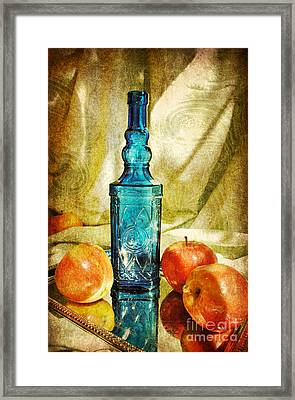 Blue Bottle With Apples Framed Print by Kelly Nowak
