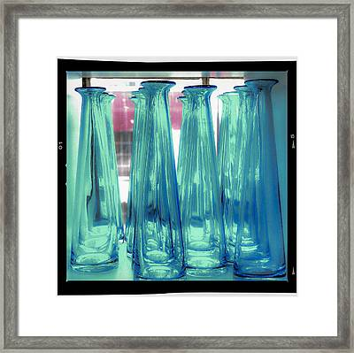 Framed Print featuring the photograph Blue Bottles by Craig Perry-Ollila