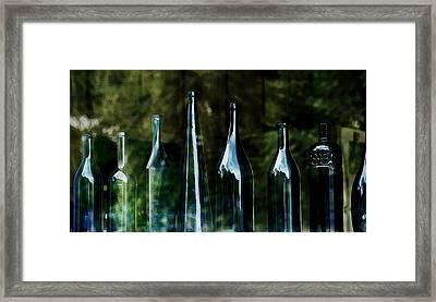Blue Bottles On A Windowsill Framed Print