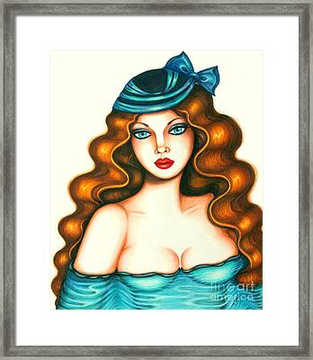 Blue Bow Hat Framed Print