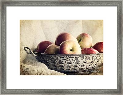 Blue Bowl Of Apples Framed Print