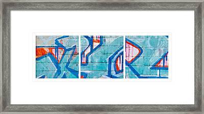 Blue Brick Graffiti Framed Print by Art Block Collections