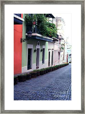 Blue Brick Street Old San Juan Framed Print