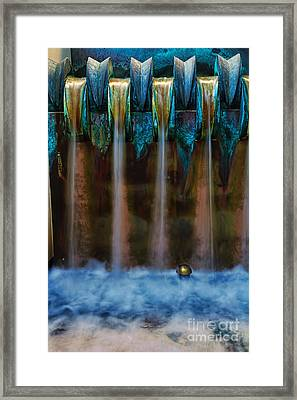 Blue Bronze Water Feature By Kaye Menner Framed Print by Kaye Menner