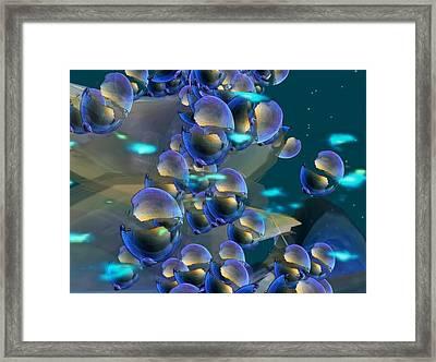 Framed Print featuring the digital art Blue Bubbles by Susanne Baumann