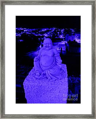 Blue Buddha And The Blue City Framed Print