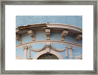 Blue Building Old Mazatlan Framed Print by Linda Queally