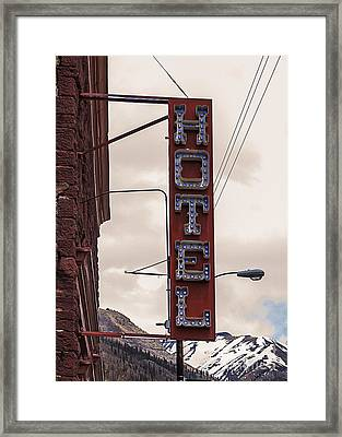 Blue Bulbs Hotel Sign Framed Print by Janice Rae Pariza