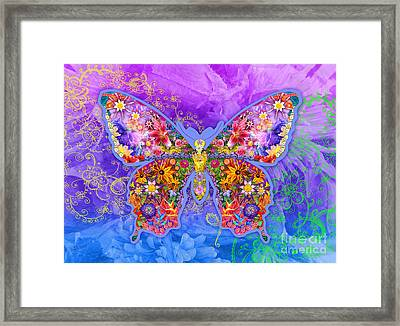 Blue Butterfly Floral Framed Print by Alixandra Mullins