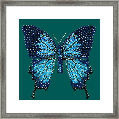 Blue Butterfly Green Background Framed Print by R  Allen Swezey