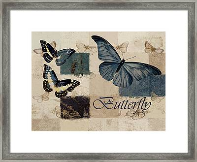 Blue Butterfly - J118118115-01a Framed Print by Variance Collections