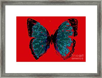 Framed Print featuring the digital art Blue Butterfly  by Jasna Gopic