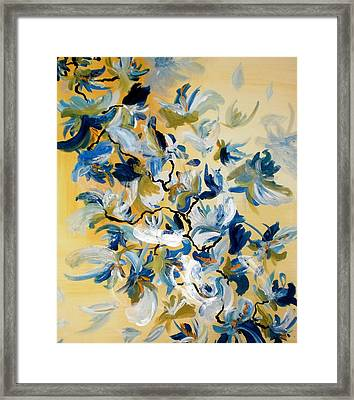 Framed Print featuring the painting Blue Butterfly Painting by France Laliberte