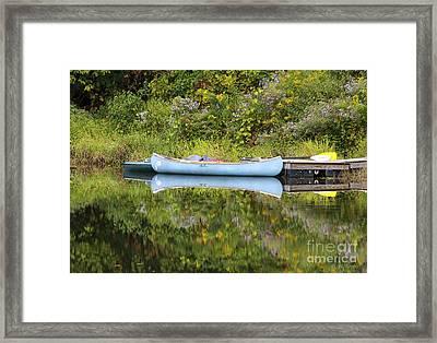 Blue Canoe Framed Print by Deborah Benoit