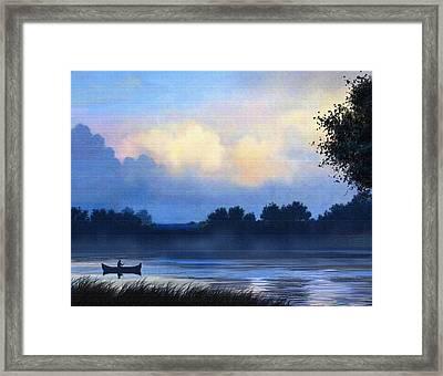 Blue Canoe Framed Print by Robert Foster