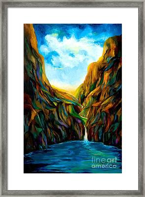 Blue Canyon Waterfall Framed Print