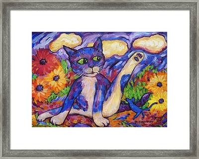 Framed Print featuring the painting Blue Cat Among Daisies by Dianne  Connolly