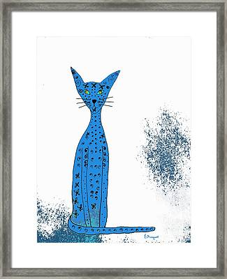 Blue Cat Framed Print by Barbara Moignard