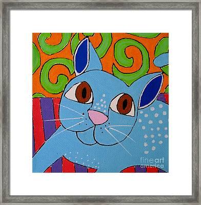 Blue Cat Framed Print by Susan Sorrell