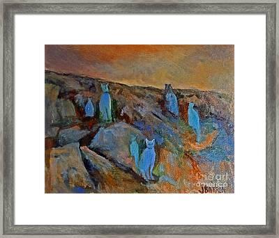 Blue Cats Framed Print