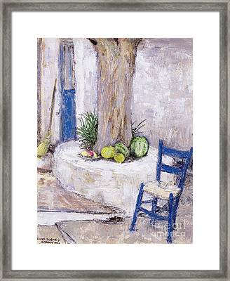 Blue Chair By The Tree Framed Print by Diana Schofield