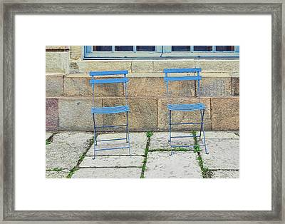 Blue Chairs 1 Stockholm Sweden Framed Print by Marianne Campolongo
