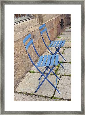 Blue Chairs 2 Stockholm Sweden Framed Print by Marianne Campolongo