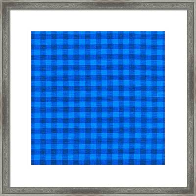 Blue Checkered Tablecloth Fabric Background Framed Print by Keith Webber Jr