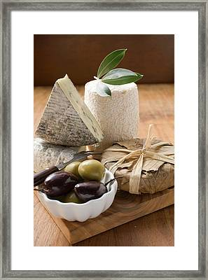 Blue Cheese, Goat's Cheese And Olives Framed Print