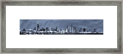 Blue Chicago Skyline Framed Print by Sebastian Musial